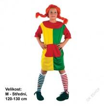 Dětský karnevalový kostým uličnice PIPI PUNČOŠKA 120 - 130cm ( 5 - 9 let )